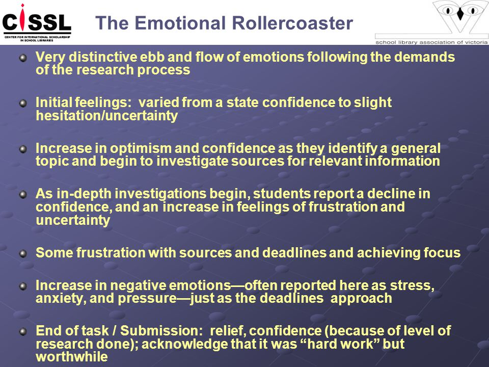The Emotional Rollercoaster Very distinctive ebb and flow of emotions following the demands of the research process Initial feelings: varied from a st