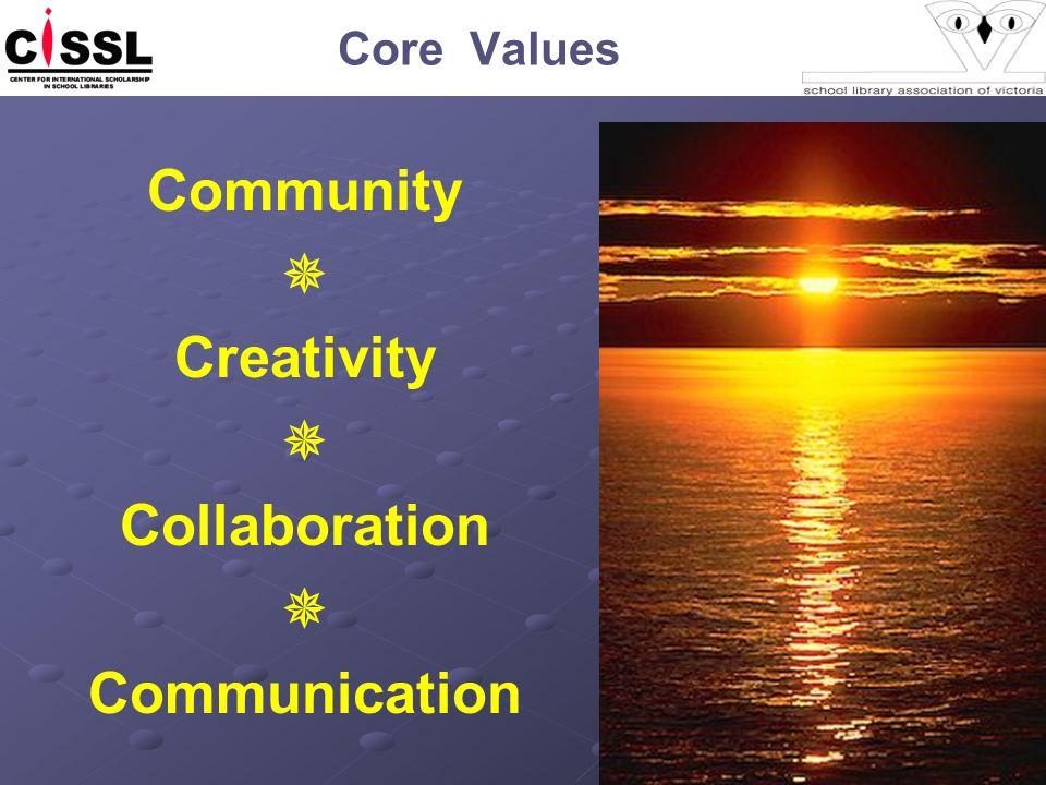 Core Values Community  Creativity  Collaboration  Communication