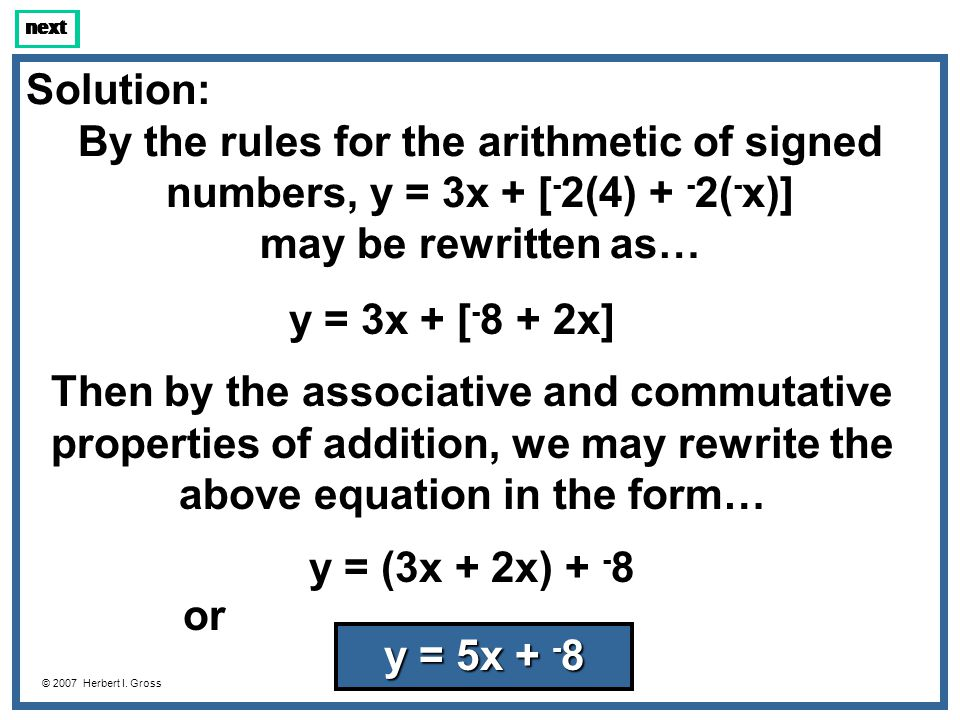 Because of the way the question was worded (y = mx + b), the answer had to be written as y = 5x + - 8.