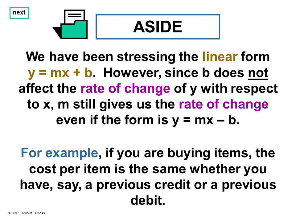 Answer: -2 / 3 Solution: To convert the equation 3y = 12 – 2x into the y = mx – b form, we divide both sides of it by 3 (or, equivalently, multiply both sides by 1 / 3 ) to obtain… next © 2007 Herbert I.