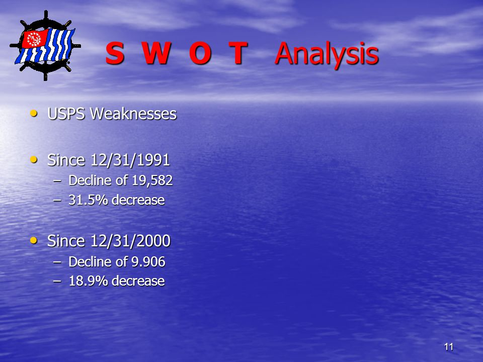 11 S W O T Analysis USPS Weaknesses USPS Weaknesses Since 12/31/1991 Since 12/31/1991 –Decline of 19,582 –31.5% decrease Since 12/31/2000 Since 12/31/2000 –Decline of 9.906 –18.9% decrease