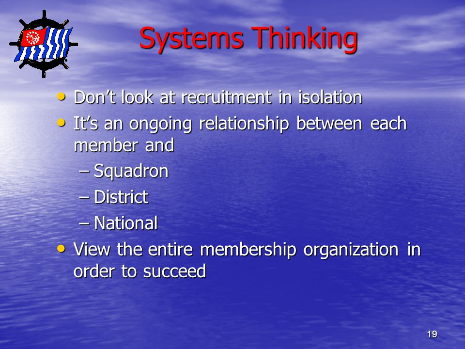 19 Systems Thinking Systems Thinking Don't look at recruitment in isolation Don't look at recruitment in isolation It's an ongoing relationship between each member and It's an ongoing relationship between each member and –Squadron –District –National View the entire membership organization in order to succeed View the entire membership organization in order to succeed