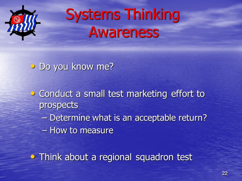 22 Systems Thinking Awareness Systems Thinking Awareness Do you know me.