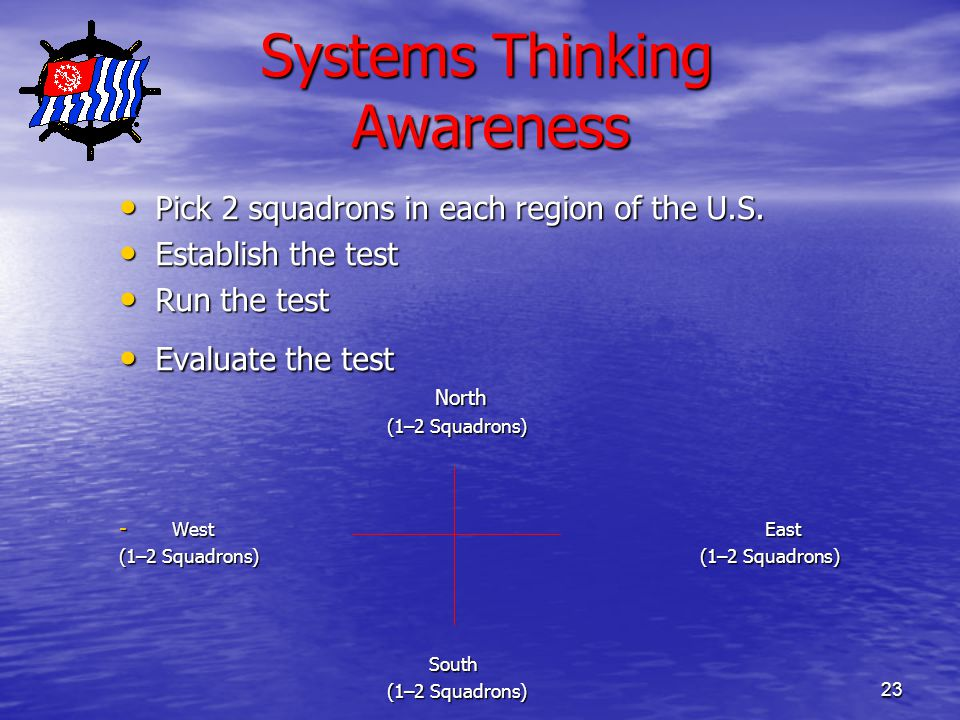 23 Systems Thinking Awareness Systems Thinking Awareness Pick 2 squadrons in each region of the U.S.