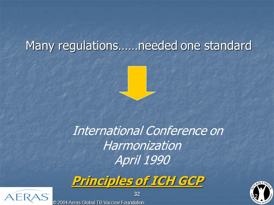 © 2004 Aeras Global TB Vaccine Foundation 32 Many regulations……needed one standard Many regulations……needed one standard International Conference on Harmonization April 1990 Principles of ICH GCP