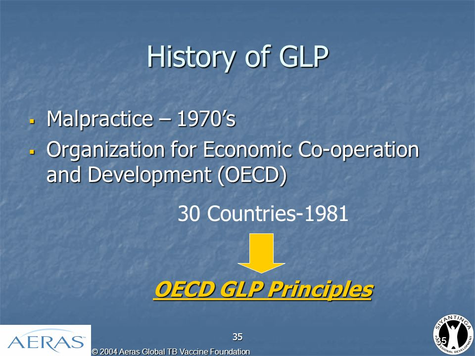 © 2004 Aeras Global TB Vaccine Foundation 35 History of GLP  Malpractice – 1970's  Organization for Economic Co-operation and Development (OECD) 30 Countries-1981 OECD GLP Principles