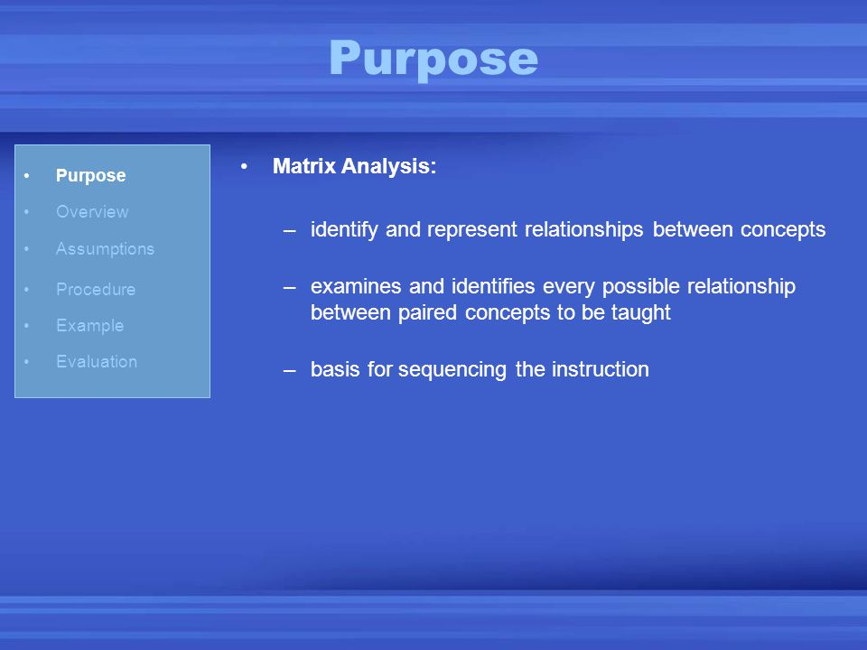 Purpose Overview Assumptions Procedure Example Evaluation Matrix Analysis: –identify and represent relationships between concepts –examines and identi