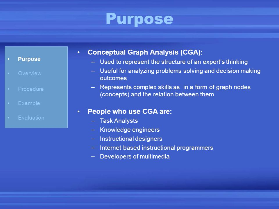 Purpose Overview Procedure Example Evaluation Conceptual Graph Analysis (CGA): –Used to represent the structure of an expert's thinking –Useful for an