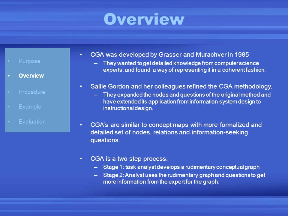 Overview CGA was developed by Grasser and Murachver in 1985 –They wanted to get detailed knowledge from computer science experts, and found a way of r