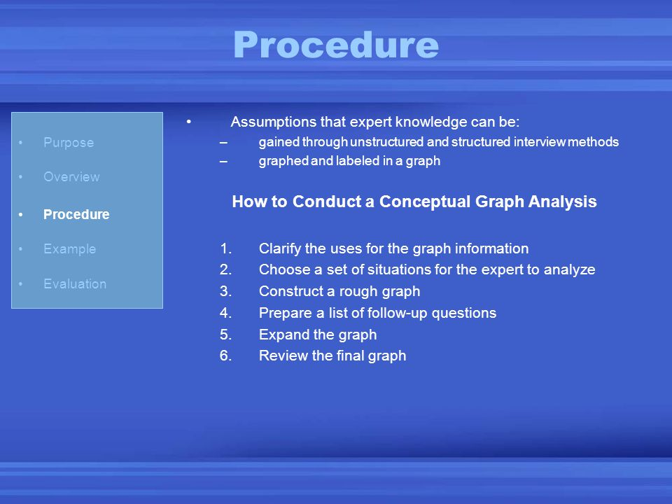 Procedure Assumptions that expert knowledge can be: –gained through unstructured and structured interview methods –graphed and labeled in a graph How
