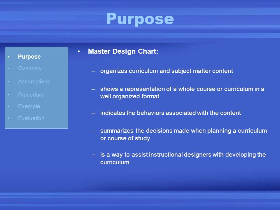 Purpose Overview Assumptions Procedure Example Evaluation Master Design Chart: –organizes curriculum and subject matter content –shows a representatio