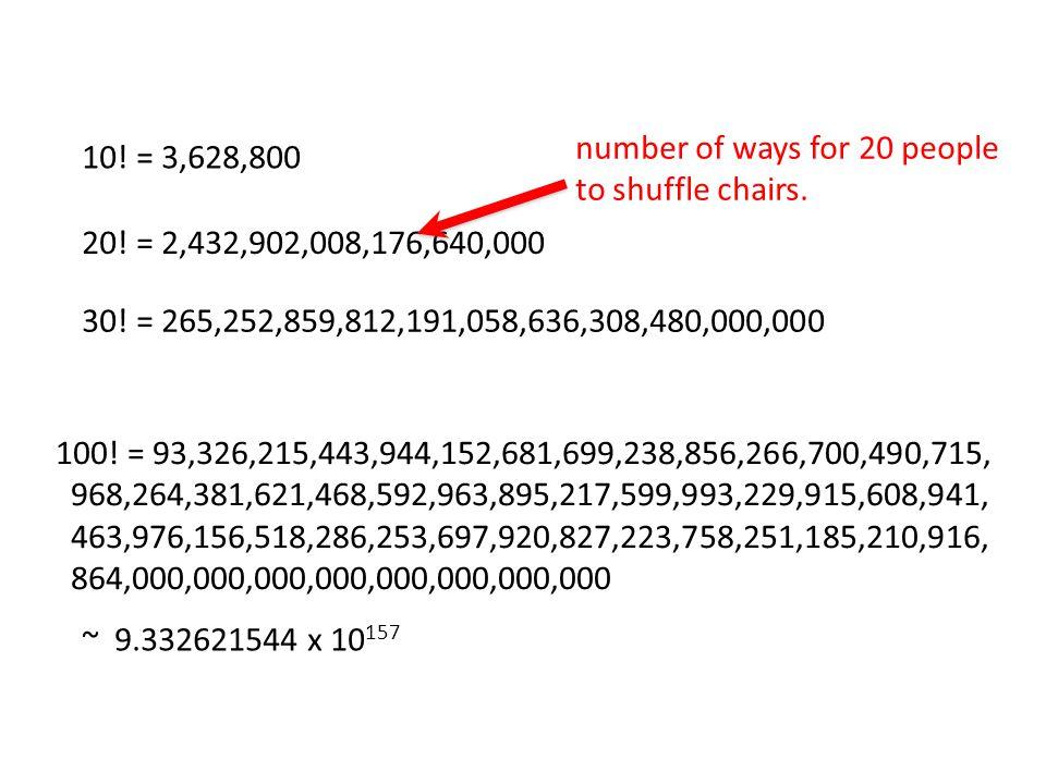 10. = 3,628,800 20. = 2,432,902,008,176,640,000 30.