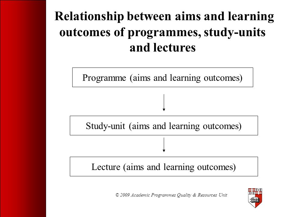 © 2009 Academic Programmes Quality & Resources Unit Learning Outcome: Example 3 Given a learning outcome, the student will be able to develop an appropriate multiple-choice question to measure student achievement of the outcome. Condition - given a learning outcome Behaviour - develop a multiple-choice question Criterion - an appropriate multiple-choice question