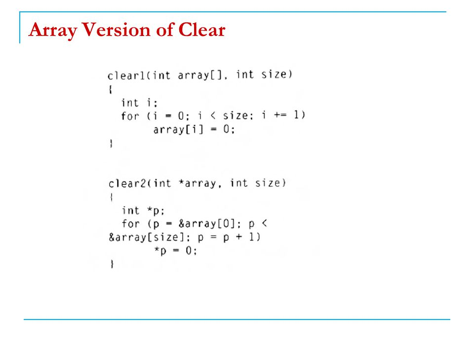 Array Version of Clear