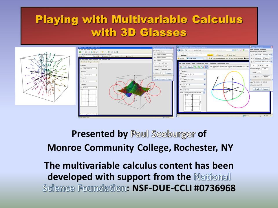 Playing with Multivariable Calculus with 3D Glasses