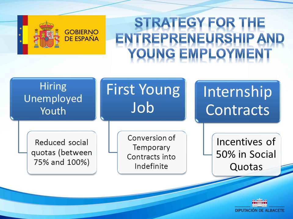Hiring Unemployed Youth Reduced social quotas (between 75% and 100%) First Young Job Conversion of Temporary Contracts into Indefinite Internship Contracts Incentives of 50% in Social Quotas