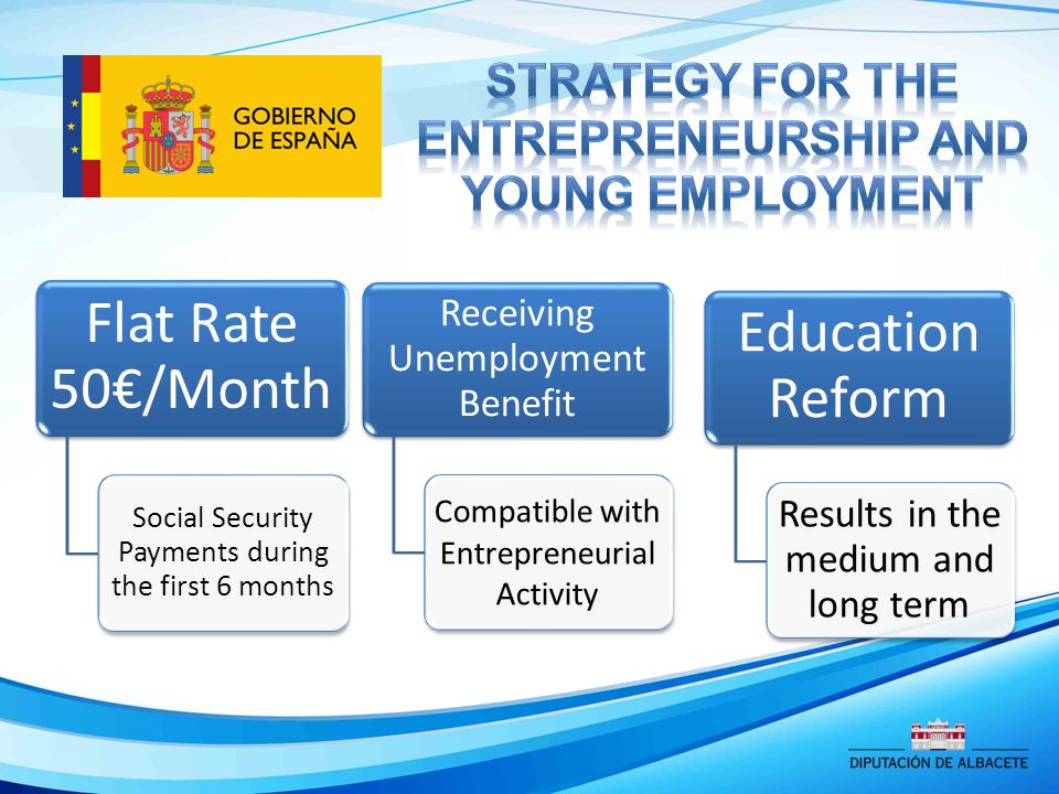 Flat Rate 50€/Month Social Security Payments during the first 6 months Receiving Unemployment Benefit Compatible with Entrepreneurial Activity Education Reform Results in the medium and long term