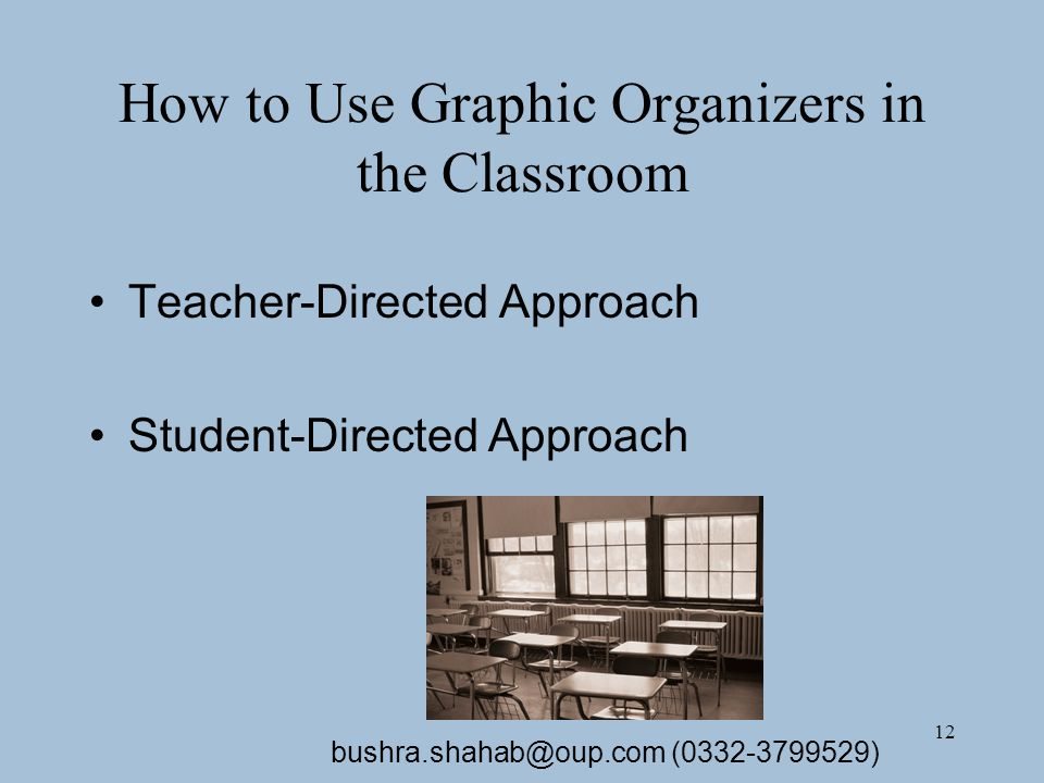 12 How to Use Graphic Organizers in the Classroom Teacher-Directed Approach Student-Directed Approach bushra.shahab@oup.com (0332-3799529)