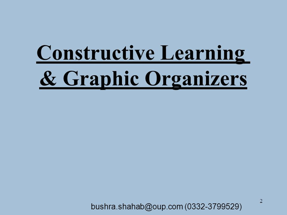 2 Constructive Learning & Graphic Organizers bushra.shahab@oup.com (0332-3799529)