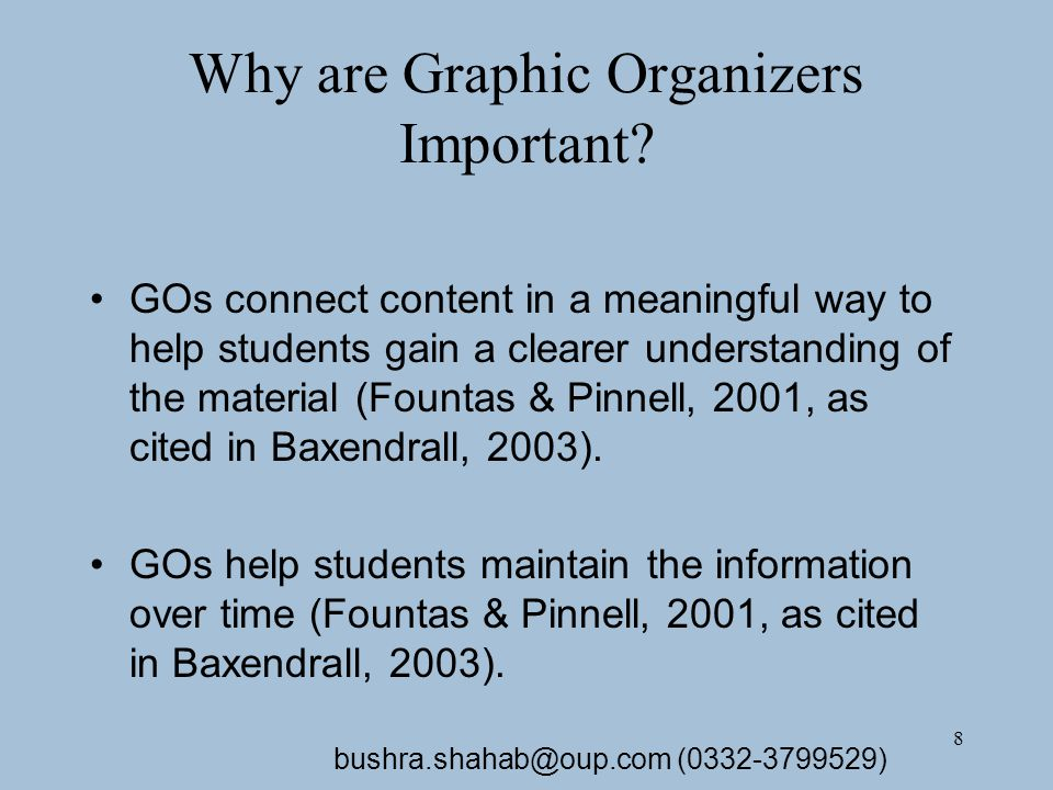 8 Why are Graphic Organizers Important.