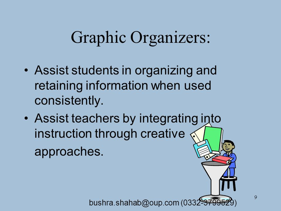 9 Graphic Organizers: Assist students in organizing and retaining information when used consistently.