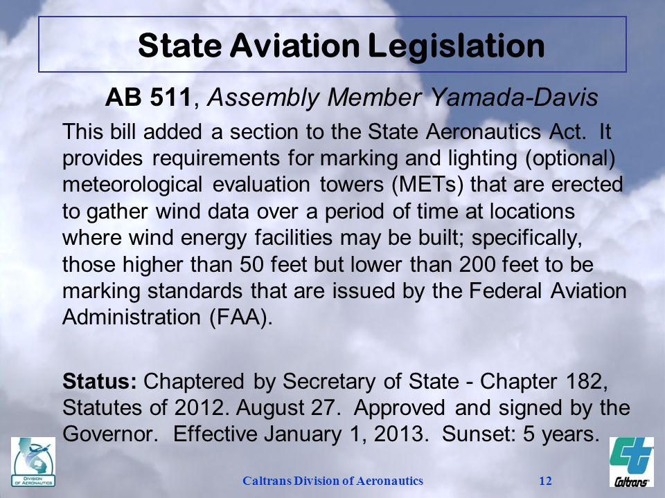 Caltrans Division of Aeronautics12 AB 511, Assembly Member Yamada-Davis This bill added a section to the State Aeronautics Act.