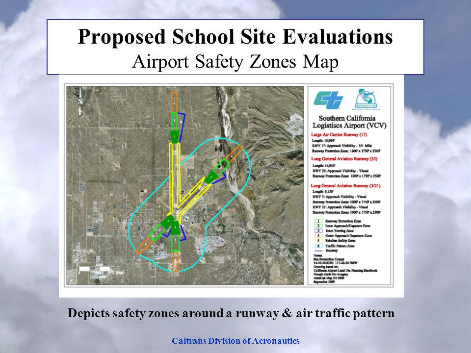 Caltrans Division of Aeronautics Proposed School Site Evaluations Airport Safety Zones Map Depicts safety zones around a runway & air traffic pattern