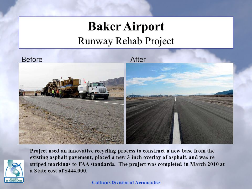 Caltrans Division of Aeronautics Baker Airport Runway Rehab Project Before After Project used an innovative recycling process to construct a new base from the existing asphalt pavement, placed a new 3-inch overlay of asphalt, and was re- striped markings to FAA standards.