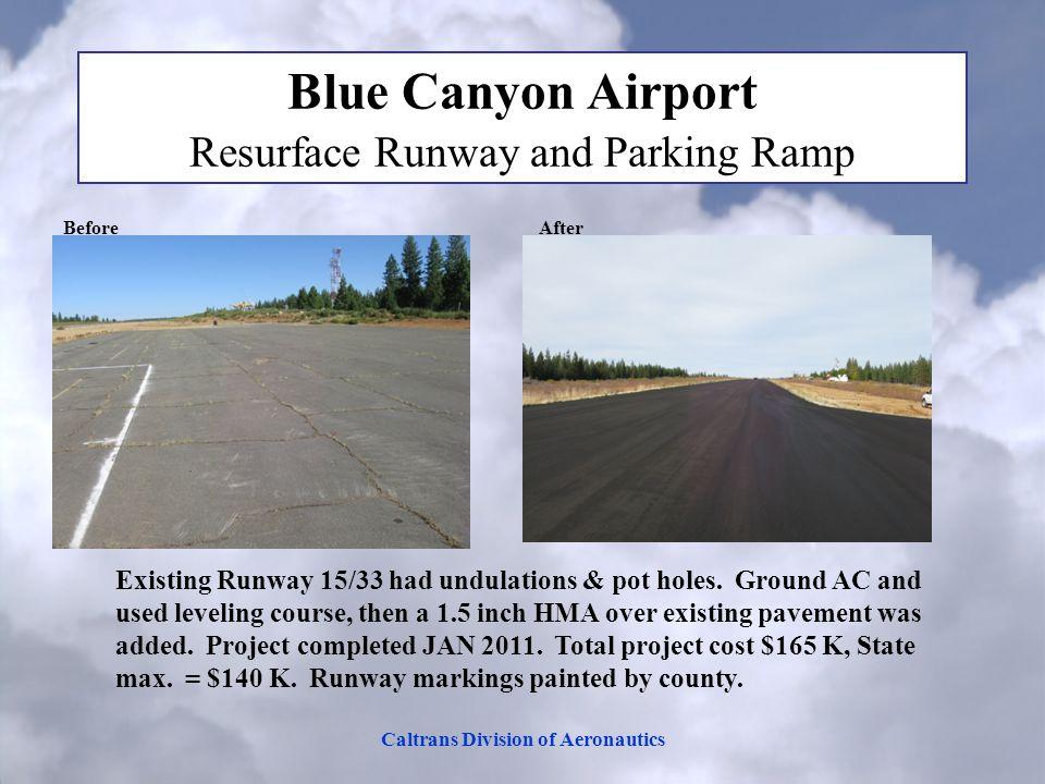Caltrans Division of Aeronautics Blue Canyon Airport Resurface Runway and Parking Ramp Before After Existing Runway 15/33 had undulations & pot holes.
