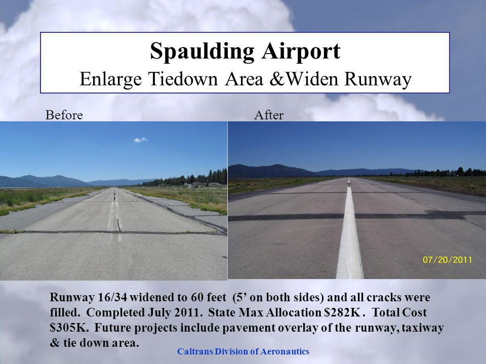 Caltrans Division of Aeronautics Spaulding Airport Enlarge Tiedown Area &Widen Runway Before After Runway 16/34 widened to 60 feet (5' on both sides) and all cracks were filled.