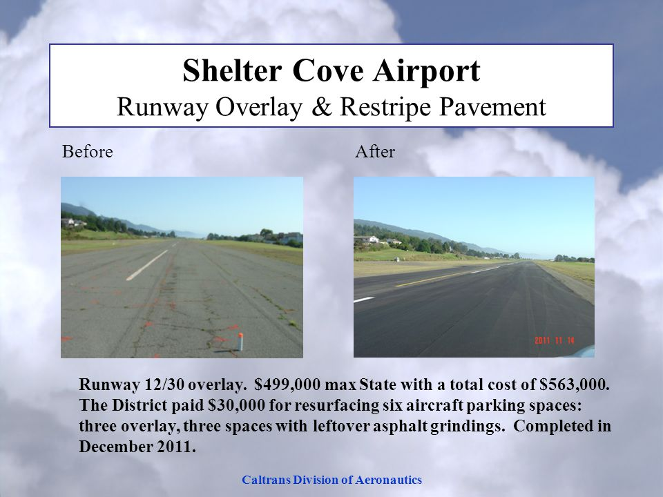 Caltrans Division of Aeronautics Shelter Cove Airport Runway Overlay & Restripe Pavement Before After Runway 12/30 overlay.