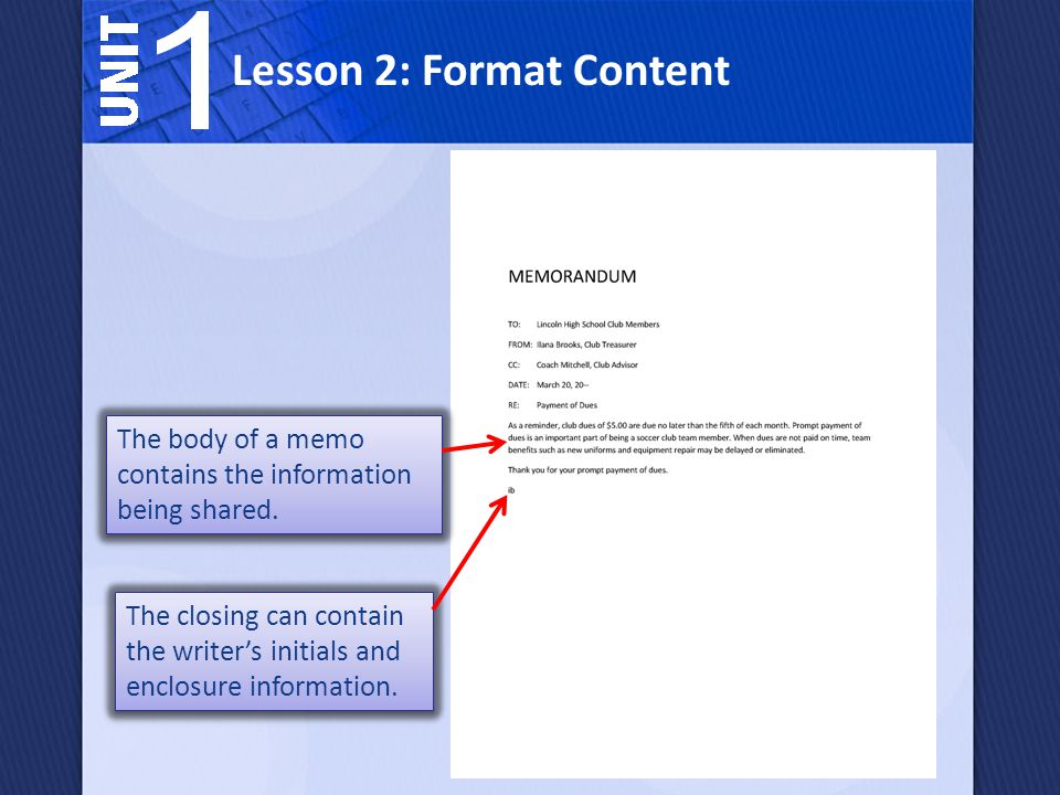 Lesson 2: Format Content The closing can contain the writer's initials and enclosure information.