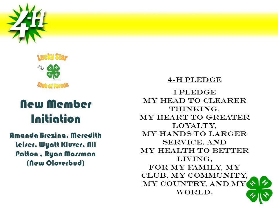 Amanda Brezina, Meredith Leiser, Wyatt Kluver, Ali Patton, Ryan Massman (New Cloverbud) 4-H Pledge I pledge My head to clearER thinking, My heart to greater loyalty, My hands to larger service, and My health to better living, For my Family, my club, my community, my country, and my world.