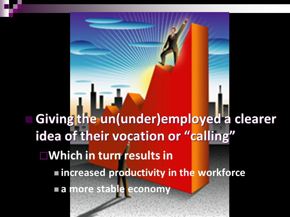 14 Giving the un(under)employed a clearer idea of their vocation or calling Giving the un(under)employed a clearer idea of their vocation or calling  Which in turn results in increased productivity in the workforce a more stable economy