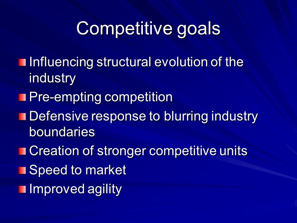 Competitive goals Influencing structural evolution of the industry Pre-empting competition Defensive response to blurring industry boundaries Creation