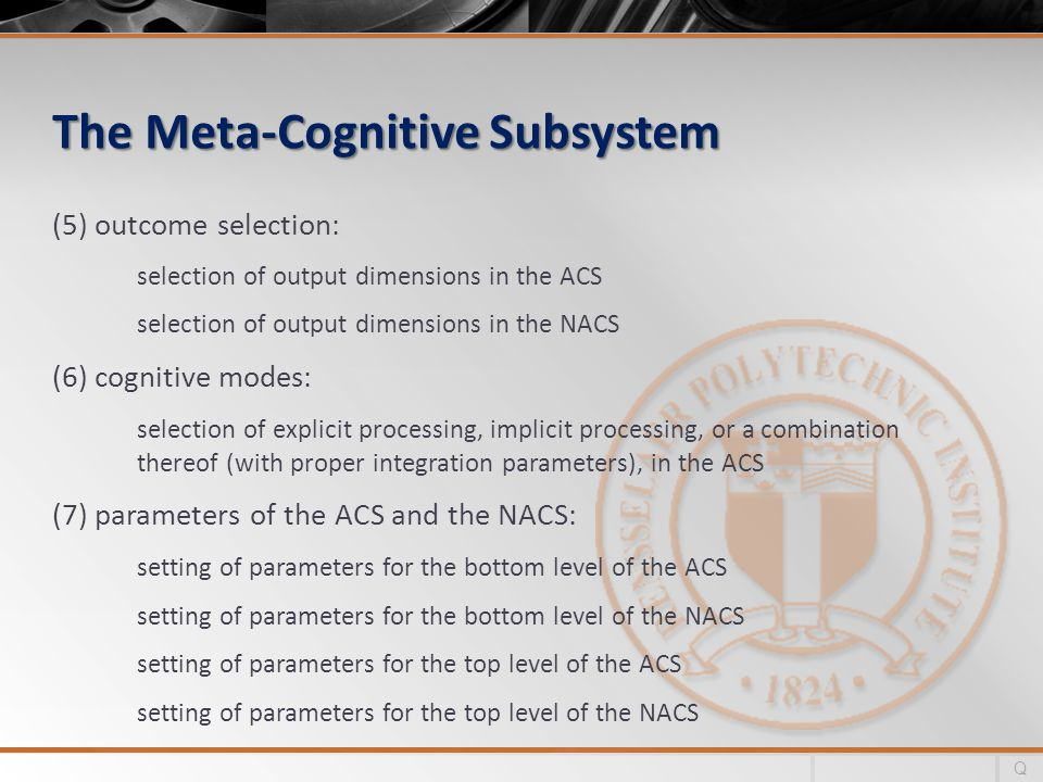 The Meta-Cognitive Subsystem (5) outcome selection: selection of output dimensions in the ACS selection of output dimensions in the NACS (6) cognitive modes: selection of explicit processing, implicit processing, or a combination thereof (with proper integration parameters), in the ACS (7) parameters of the ACS and the NACS: setting of parameters for the bottom level of the ACS setting of parameters for the bottom level of the NACS setting of parameters for the top level of the ACS setting of parameters for the top level of the NACS Q