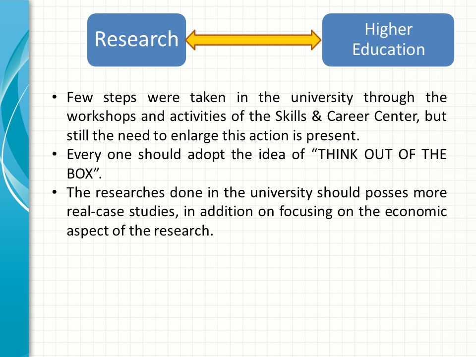 Few steps were taken in the university through the workshops and activities of the Skills & Career Center, but still the need to enlarge this action is present.