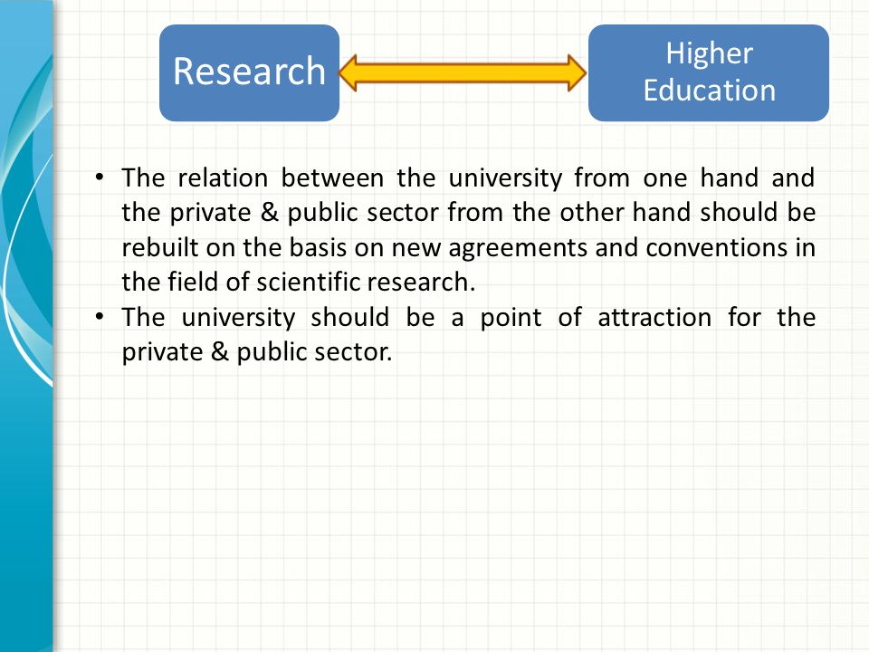 The relation between the university from one hand and the private & public sector from the other hand should be rebuilt on the basis on new agreements and conventions in the field of scientific research.