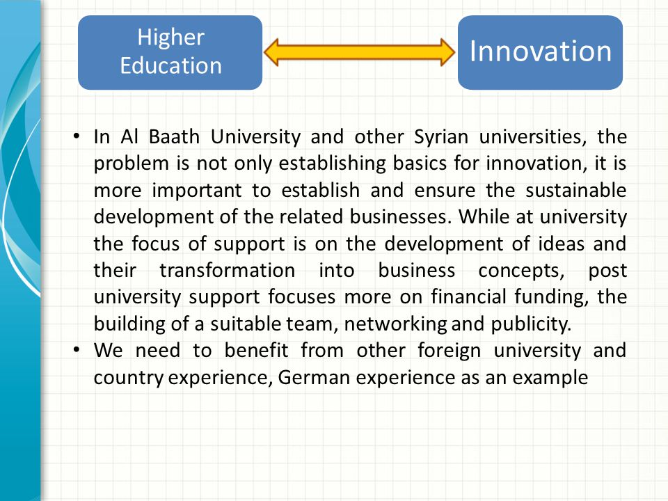 Higher Education Innovation In Al Baath University and other Syrian universities, the problem is not only establishing basics for innovation, it is more important to establish and ensure the sustainable development of the related businesses.