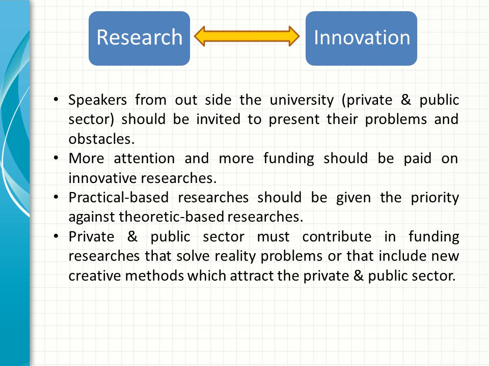 Innovation Research Speakers from out side the university (private & public sector) should be invited to present their problems and obstacles.