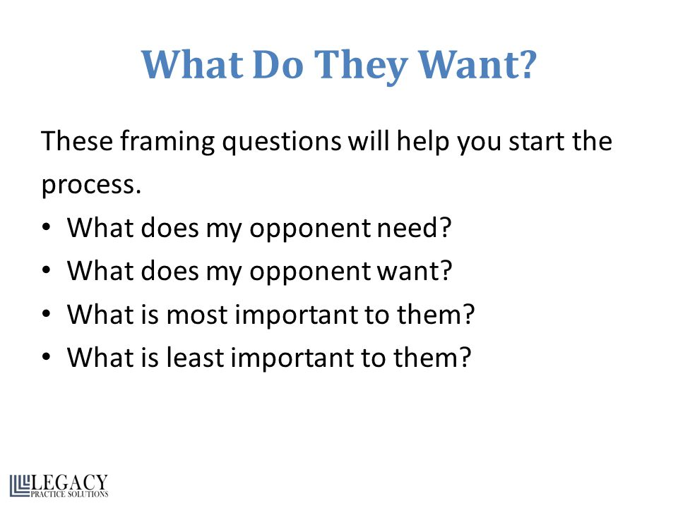 What Do They Want. These framing questions will help you start the process.