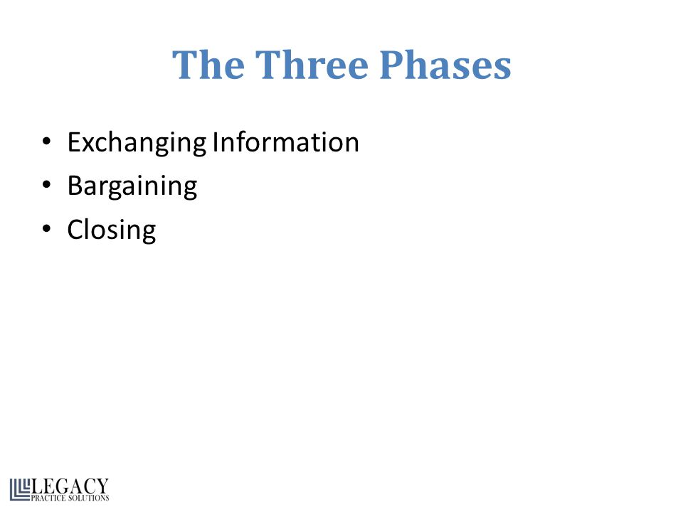The Three Phases Exchanging Information Bargaining Closing