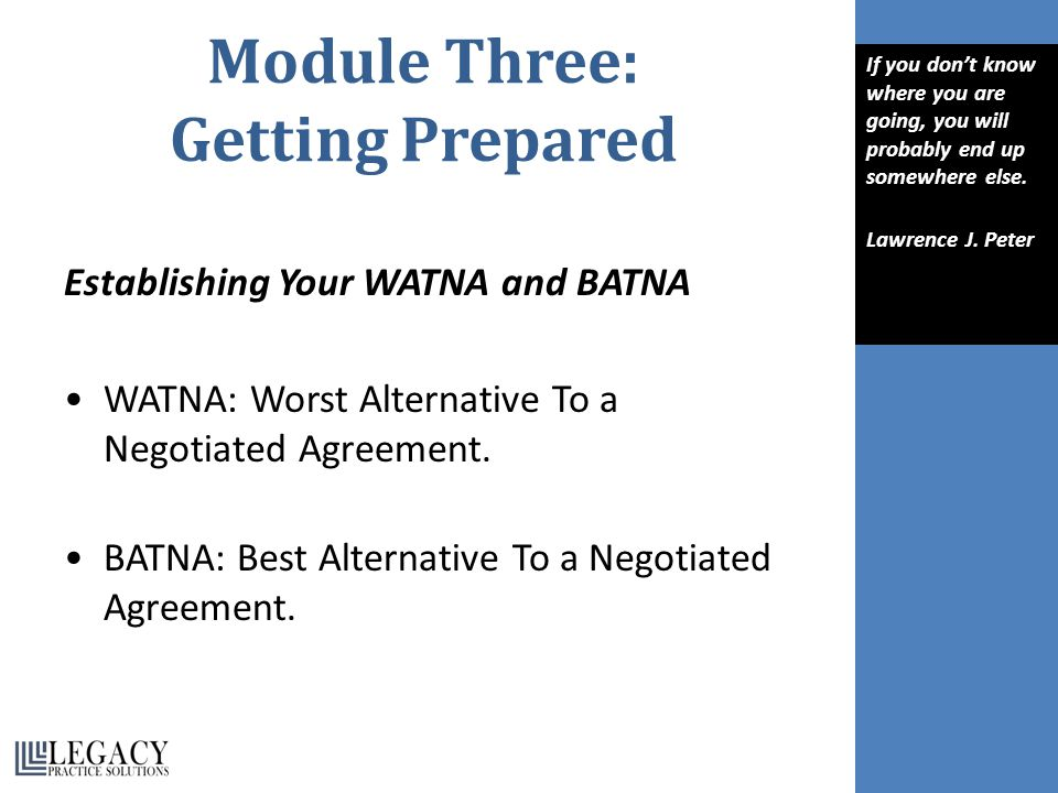 Module Three: Getting Prepared Establishing Your WATNA and BATNA WATNA: Worst Alternative To a Negotiated Agreement.