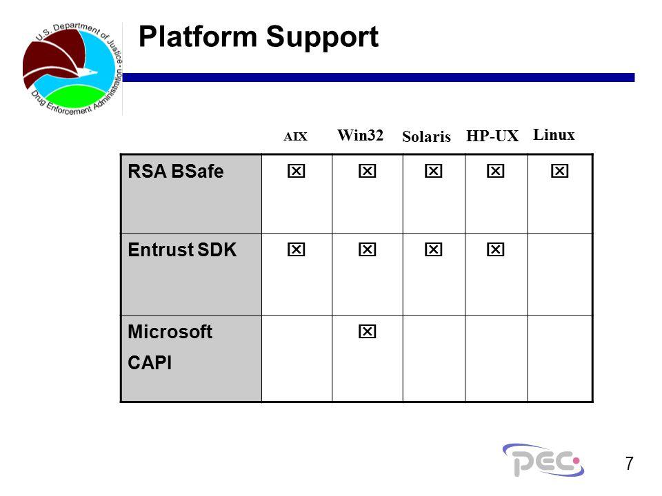 7 Platform Support RSA BSafe   Entrust SDK  Microsoft CAPI  Win32 Solaris HP-UX Linux AIX
