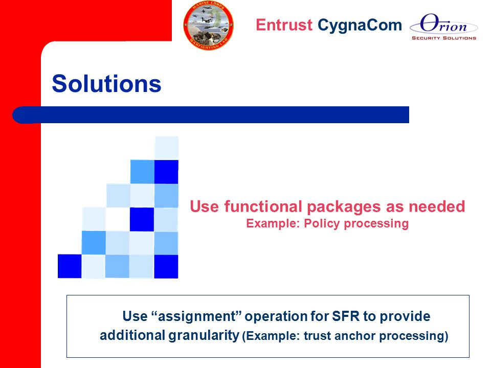 "Entrust CygnaCom Solutions Use functional packages as needed Example: Policy processing Use ""assignment"" operation for SFR to provide additional granu"