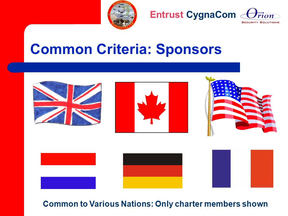 Entrust CygnaCom Common Criteria: Sponsors Common to Various Nations: Only charter members shown