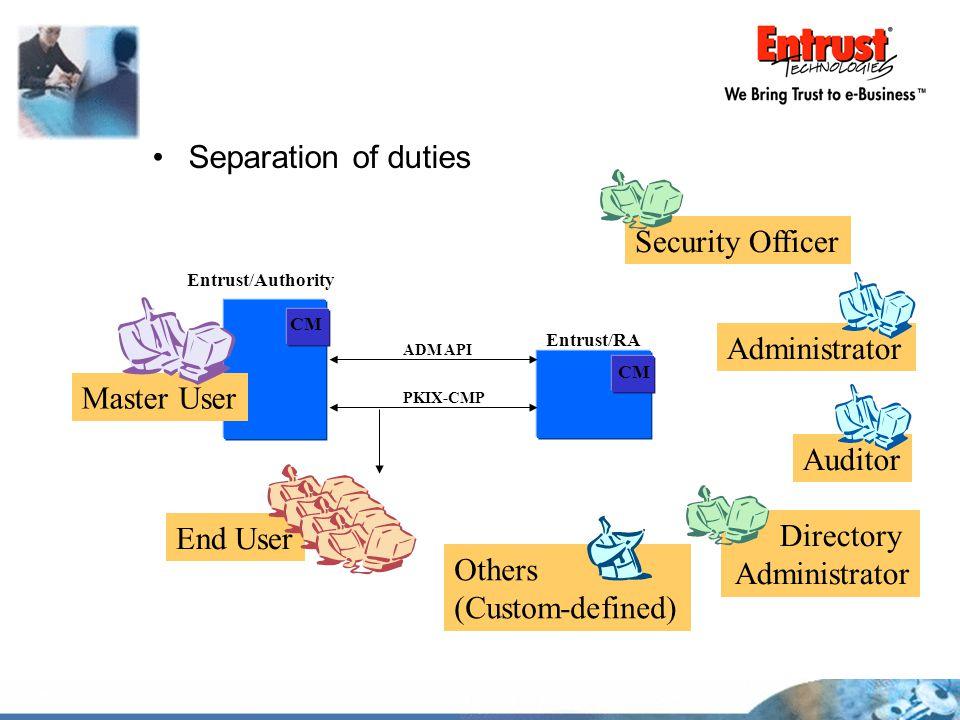Separation of duties Entrust/Authority Entrust/RA CM ADM API PKIX-CMP Master User End User Auditor Security Officer Administrator Directory Administra