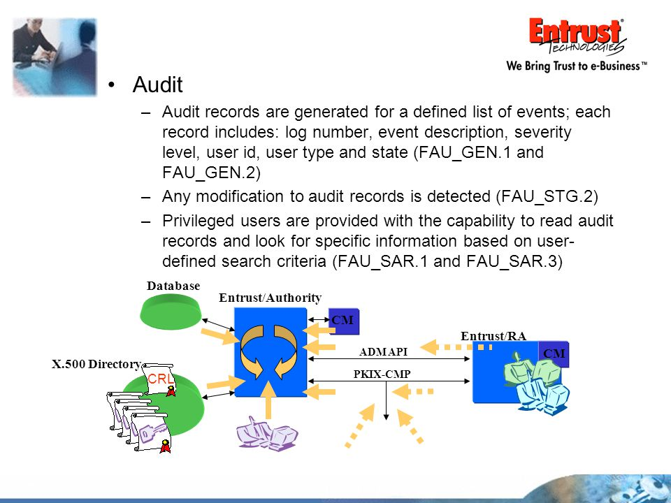 Audit –Audit records are generated for a defined list of events; each record includes: log number, event description, severity level, user id, user ty