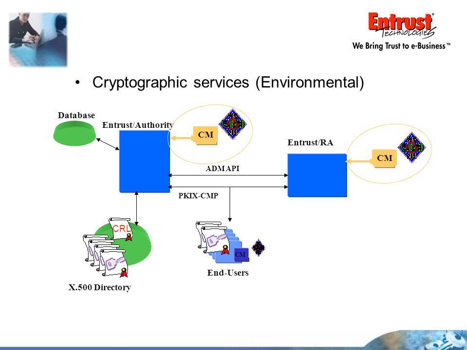 Cryptographic services (Environmental) X.500 Directory Entrust/Authority Entrust/RA CM CRL End-Users CM Database PKIX-CMP ADM API