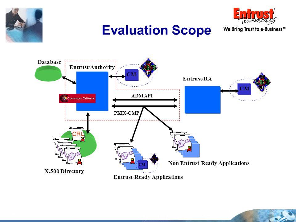 Evaluation Scope X.500 Directory Entrust/Authority Non Entrust-Ready Applications CM CRL Entrust-Ready Applications CM Database PKIX-CMP ADM API Entru
